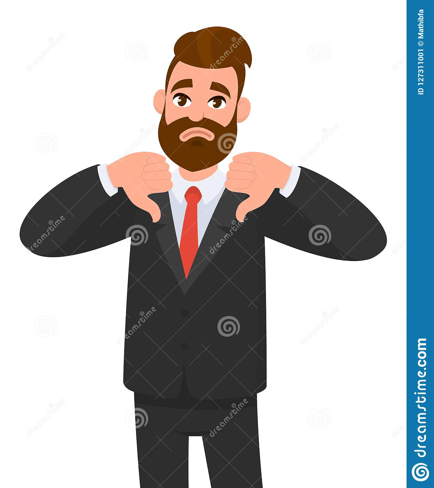 Young business man showing thumbs down sign, dislike, looks withYoung business man showing thumbs down sign, dislike, looks with n