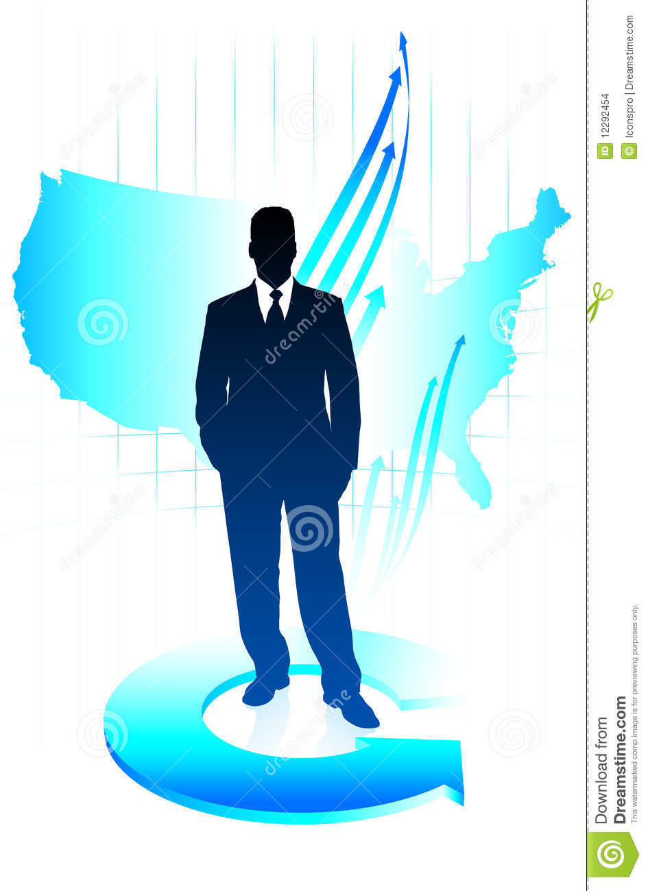 Young Business Man On US Map Background Stock Images Image - Man in the us map