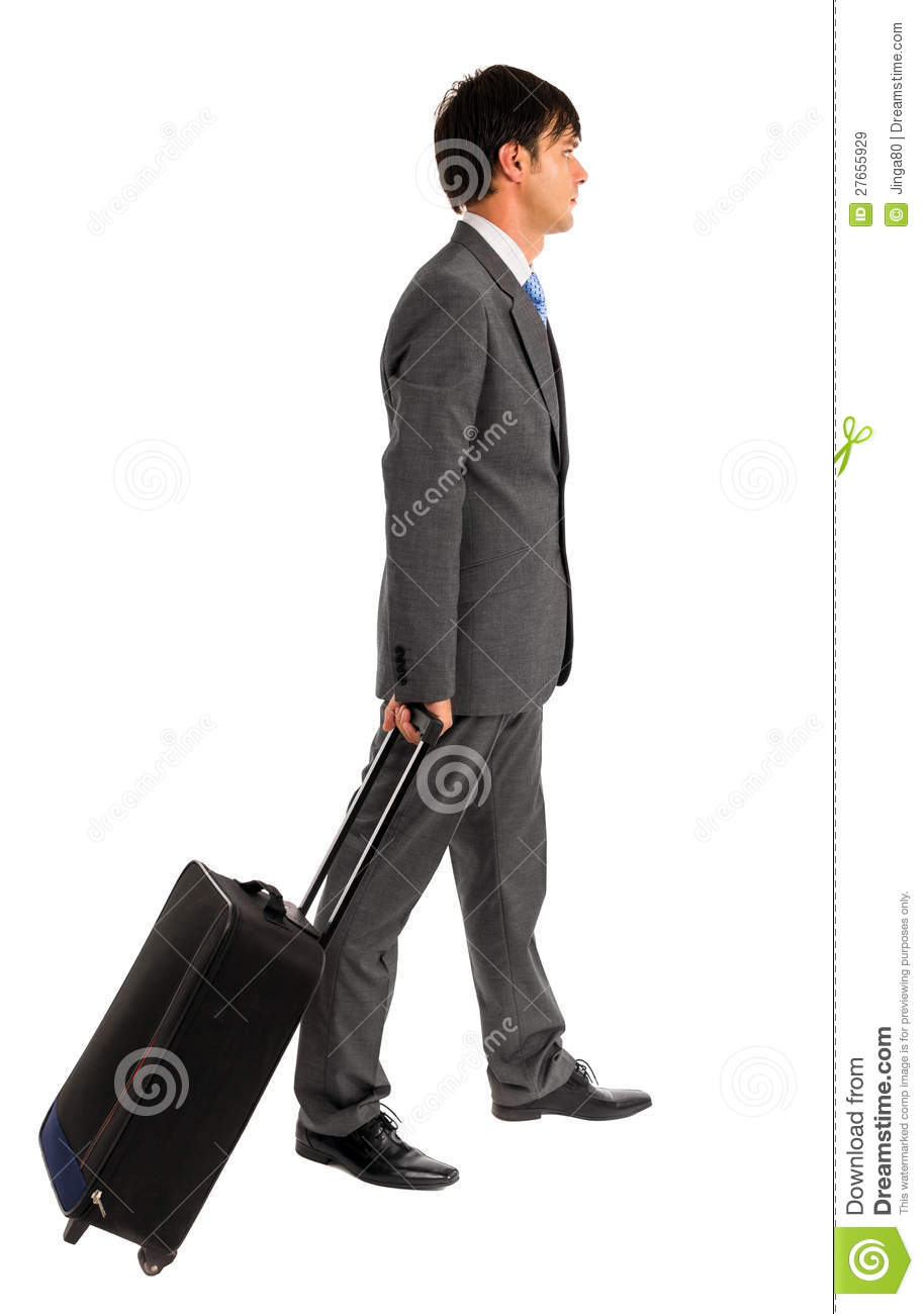 Young Business Man Holding A Trolley Bag Stock Photography ...