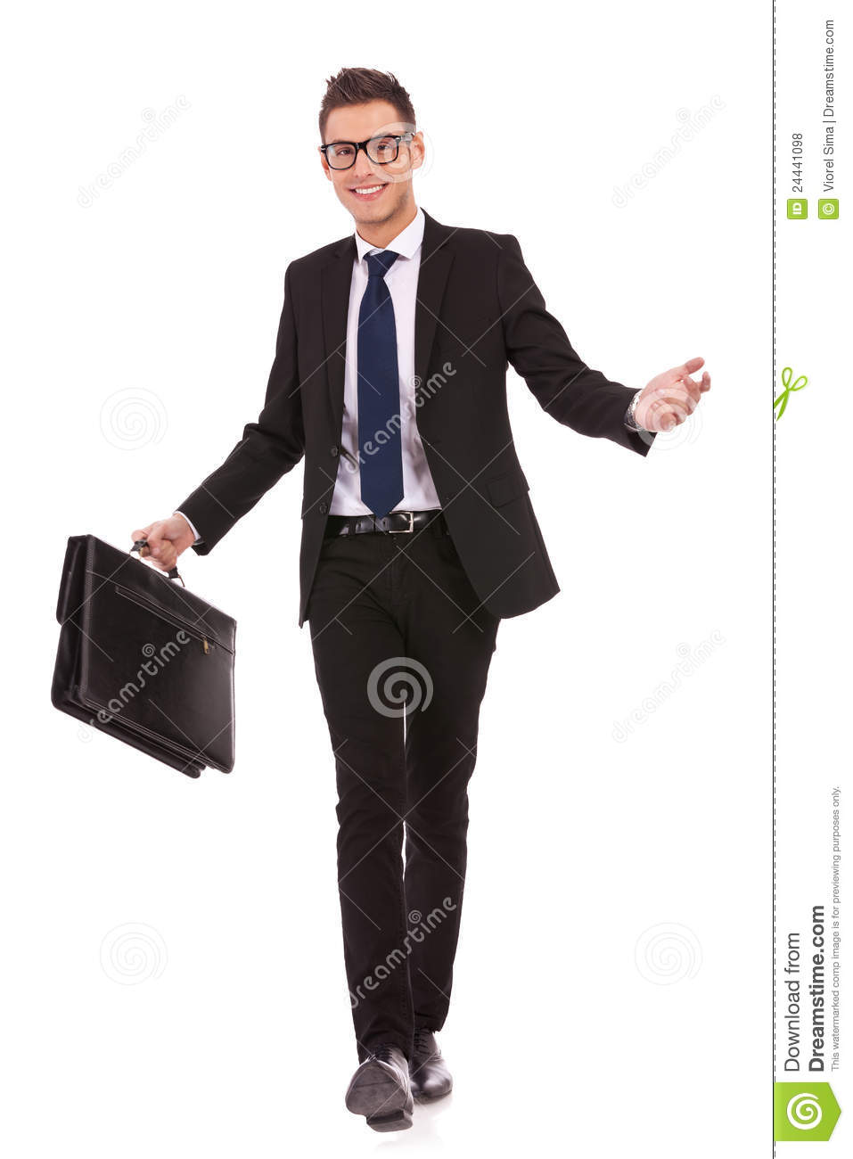 Young business man walking and welcoming