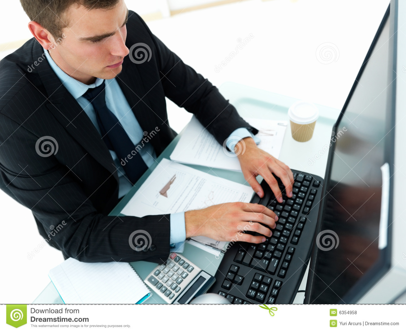 Young Business Man Working On Computer Stock Photo Image