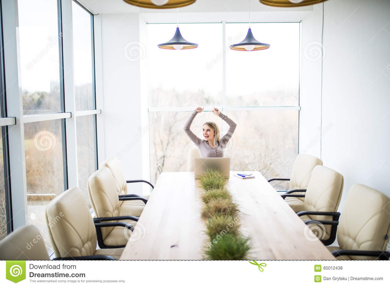Young business woman celebrate good deal victory in office