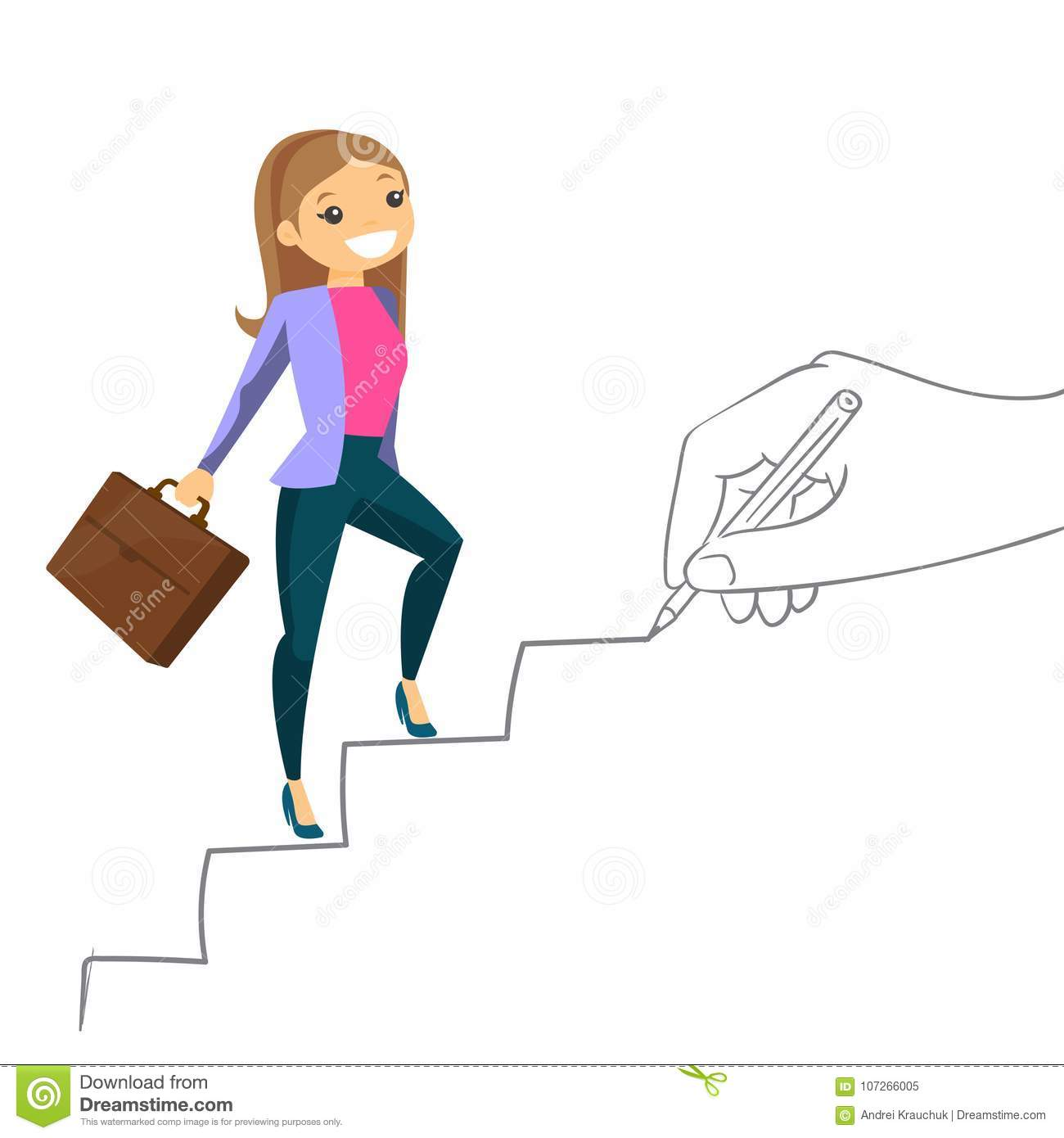 Young Business Woman Climbing The Career Ladder Stock Vector Illustration Of Promotion Leader 107266005