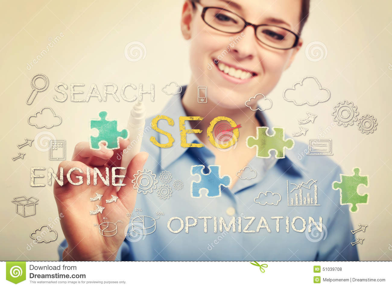 Young business woman drawing SEO concepts