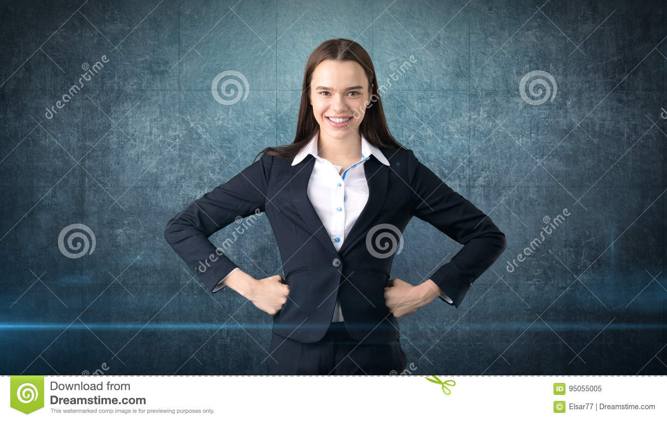 Young Business Woman Dress In Black Suit And White Shirt Is Standing ...