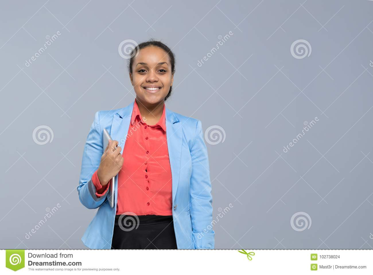 Download Young Business Woman Hold Tablet Computer African American Girl Happy Smile Businesswoman Stock Photo - Image of network, application: 102738024