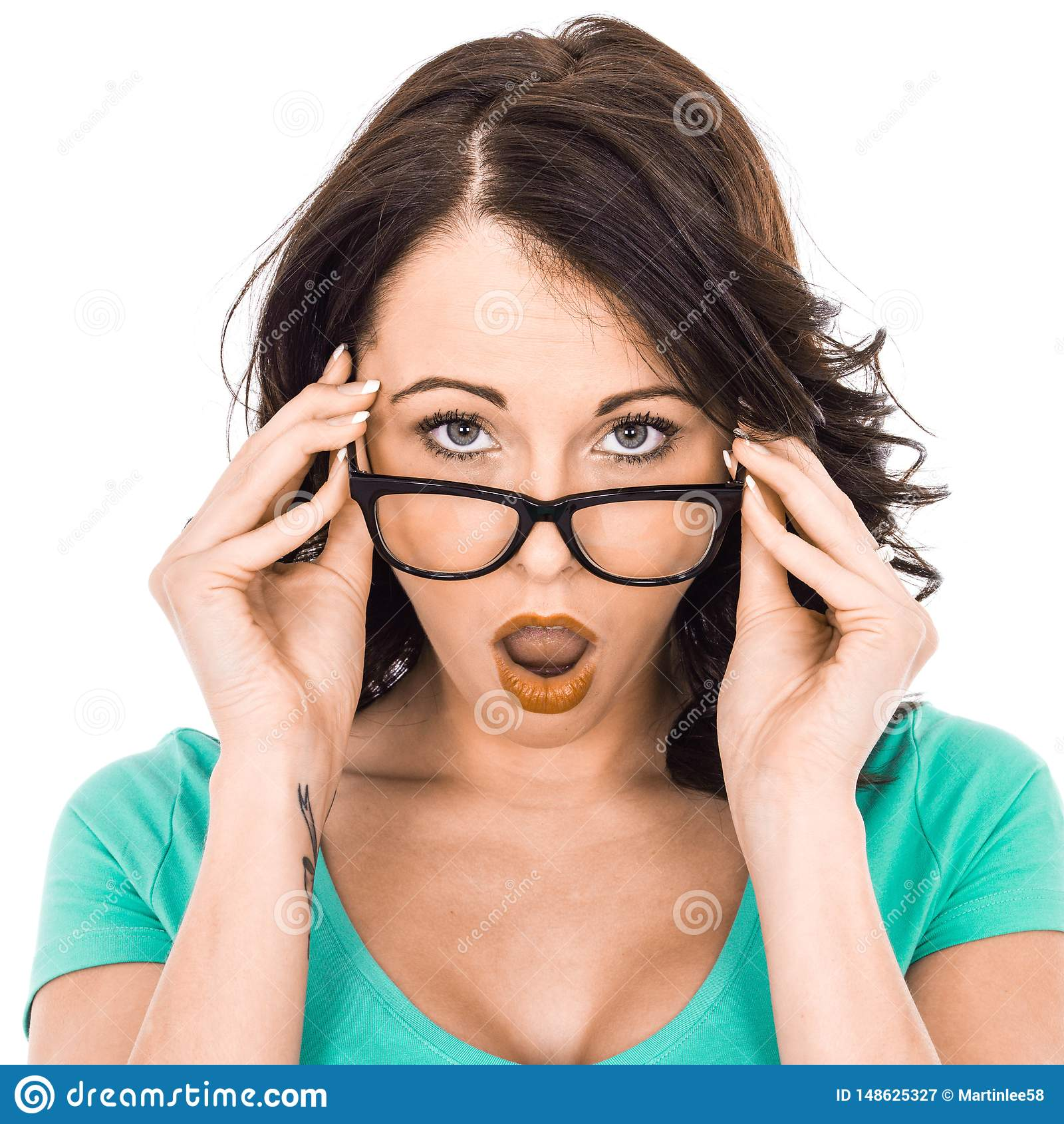 Young Business Woman Holding Glasses Looking Shocked