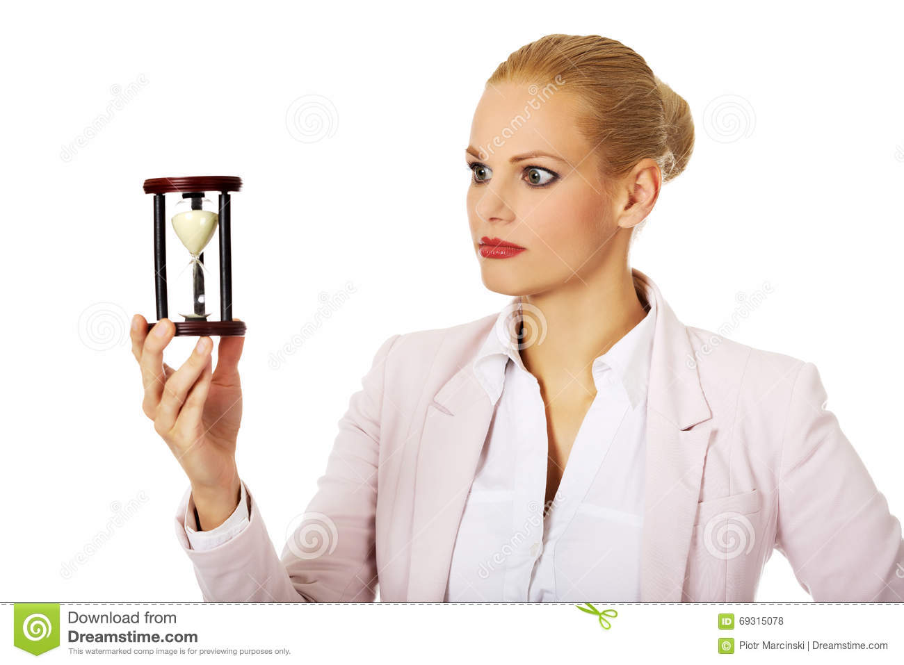 Young Business Woman Holding Hourglass-time Concept Stock