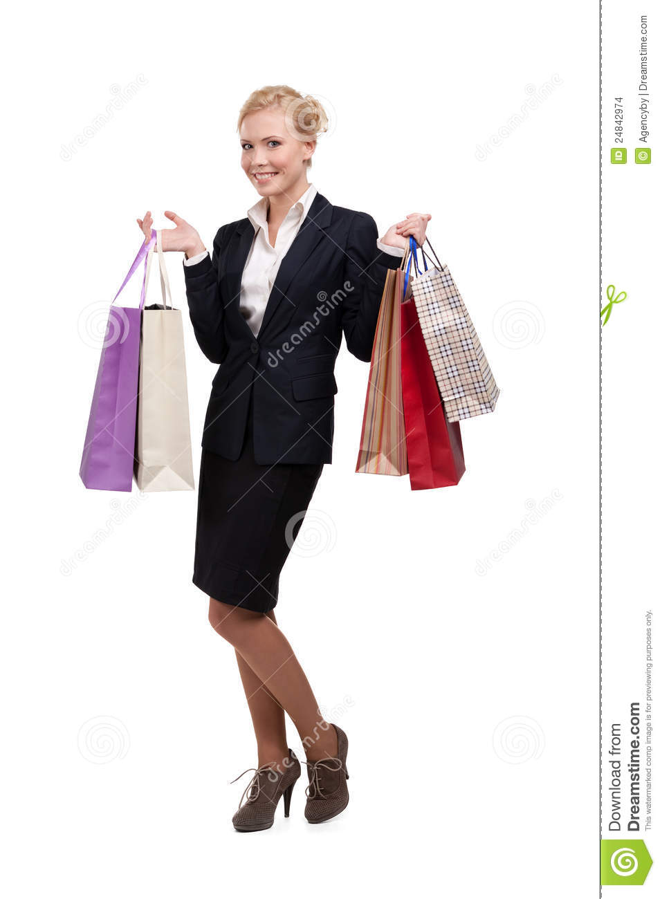 Young Business Woman In Holding Shopping Bags Stock Images - Image ...