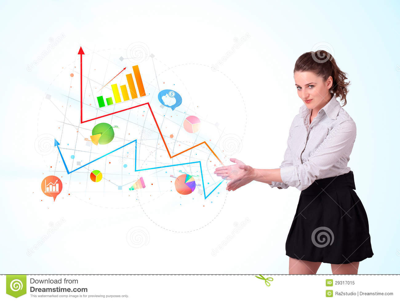 young business w  presenting colorful charts and diagrams    young business w  presenting colorful charts and diagrams
