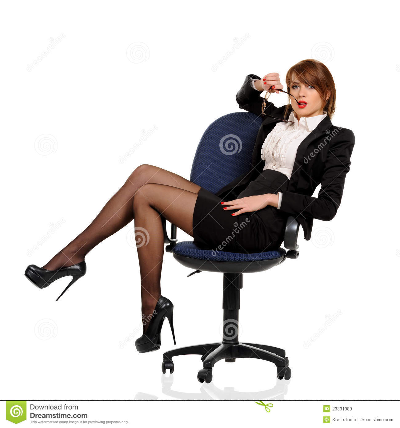 Young Business Woman Sitting In Office Chair Stock Image