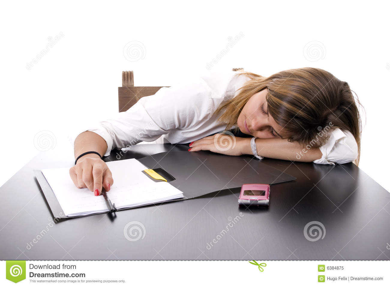 Young Business Woman Sleeping On The Desk Royalty Free