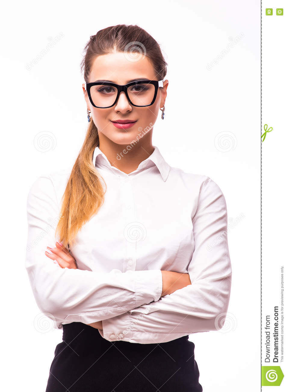 Young Business Woman Smiling, Standing With Arms Crossed ...