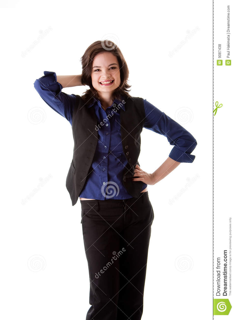 Young Business Woman Standing Smiling Royalty Free Stock ...