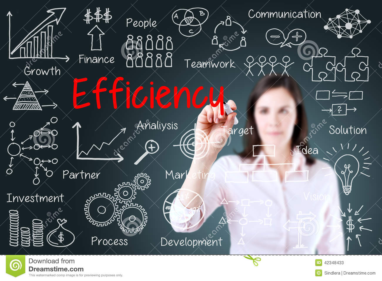 Young Business Woman Writing Concept Of Efficiency