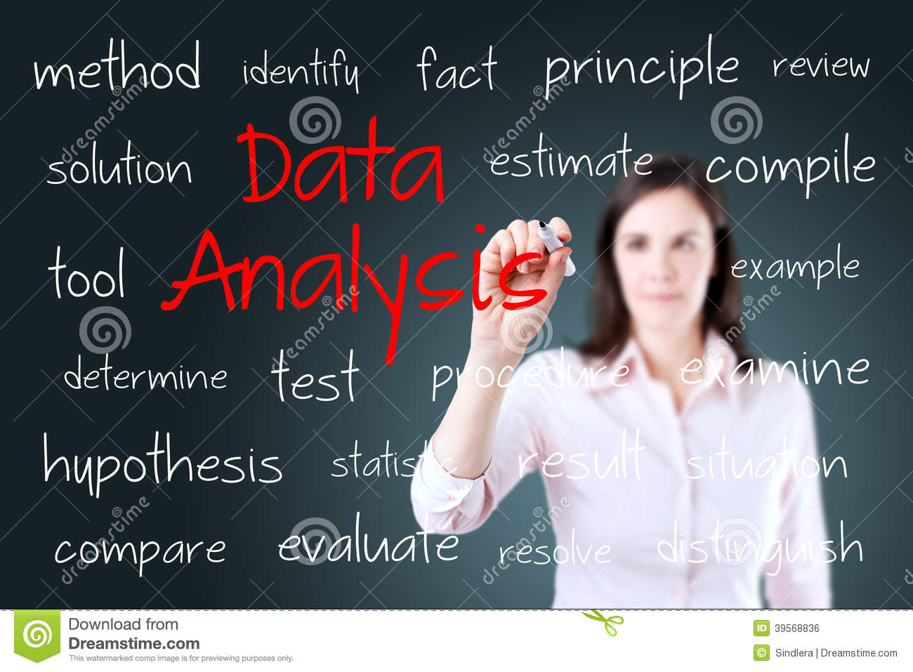 Writing Data Analysis Reports Young Business Woman Writing Data Analysis Concept
