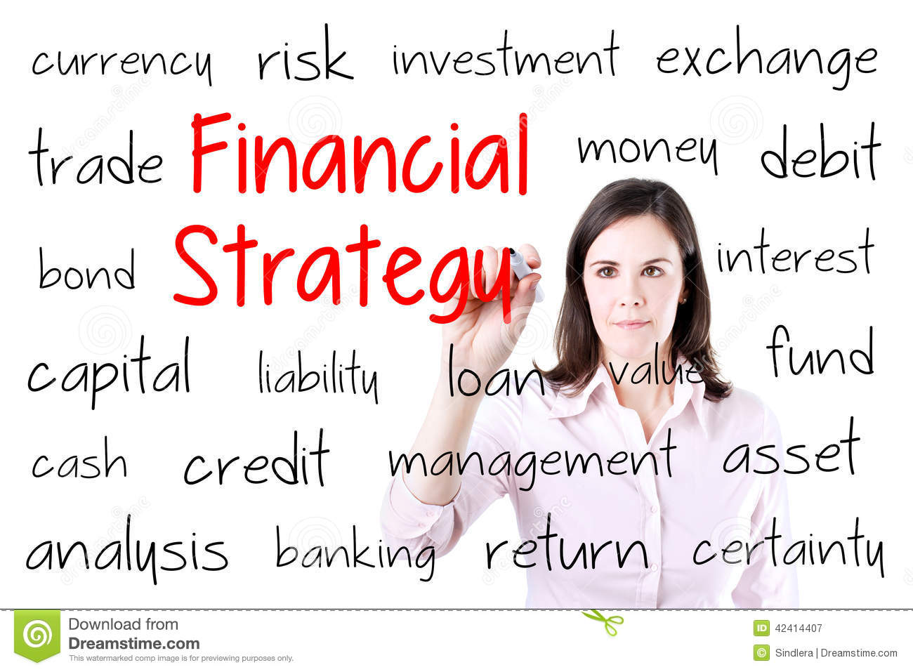 Young business woman writing financial strategy concept. Isolated on white.