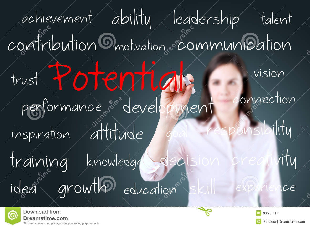 Young business woman writing potential concept