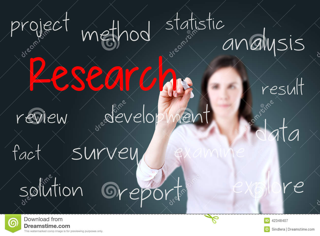 Young business woman writing research concept. Blue background.