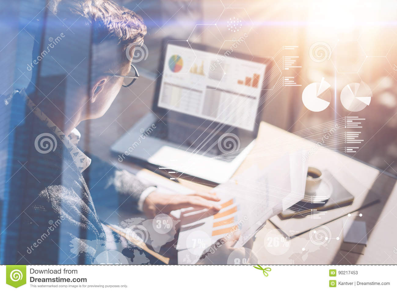 Young businessman analyze stock report on notebook screen.Concept of digital screen,virtual connection icon,diagram