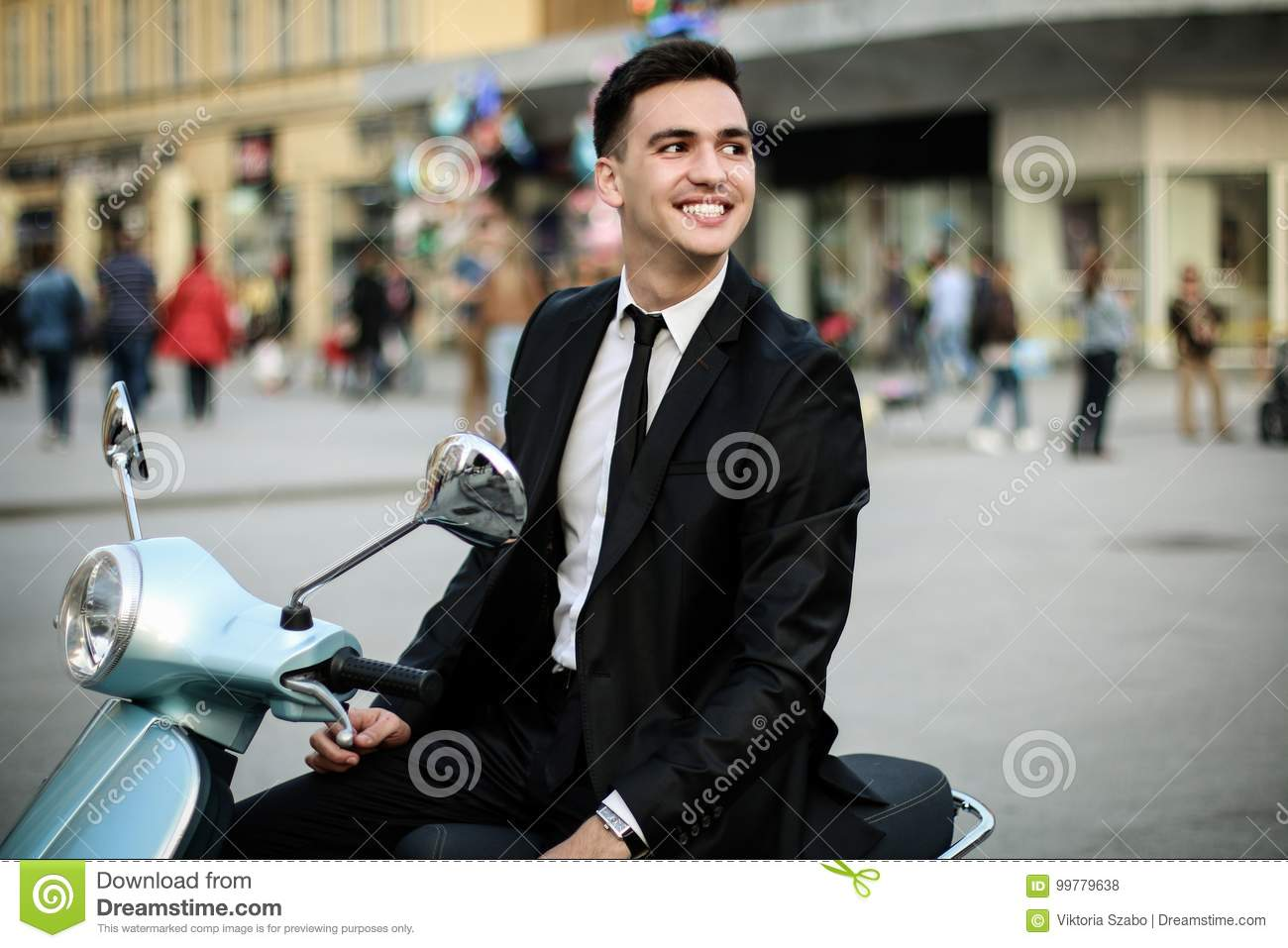 Young Businessman On Blue Motorcycle Stock Photo - Image ...