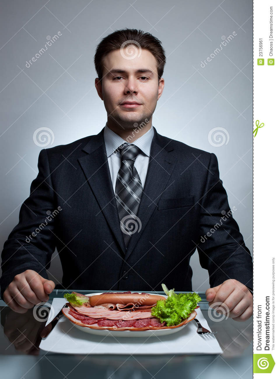 Young Businessman Eating Stock Image Image 23756961