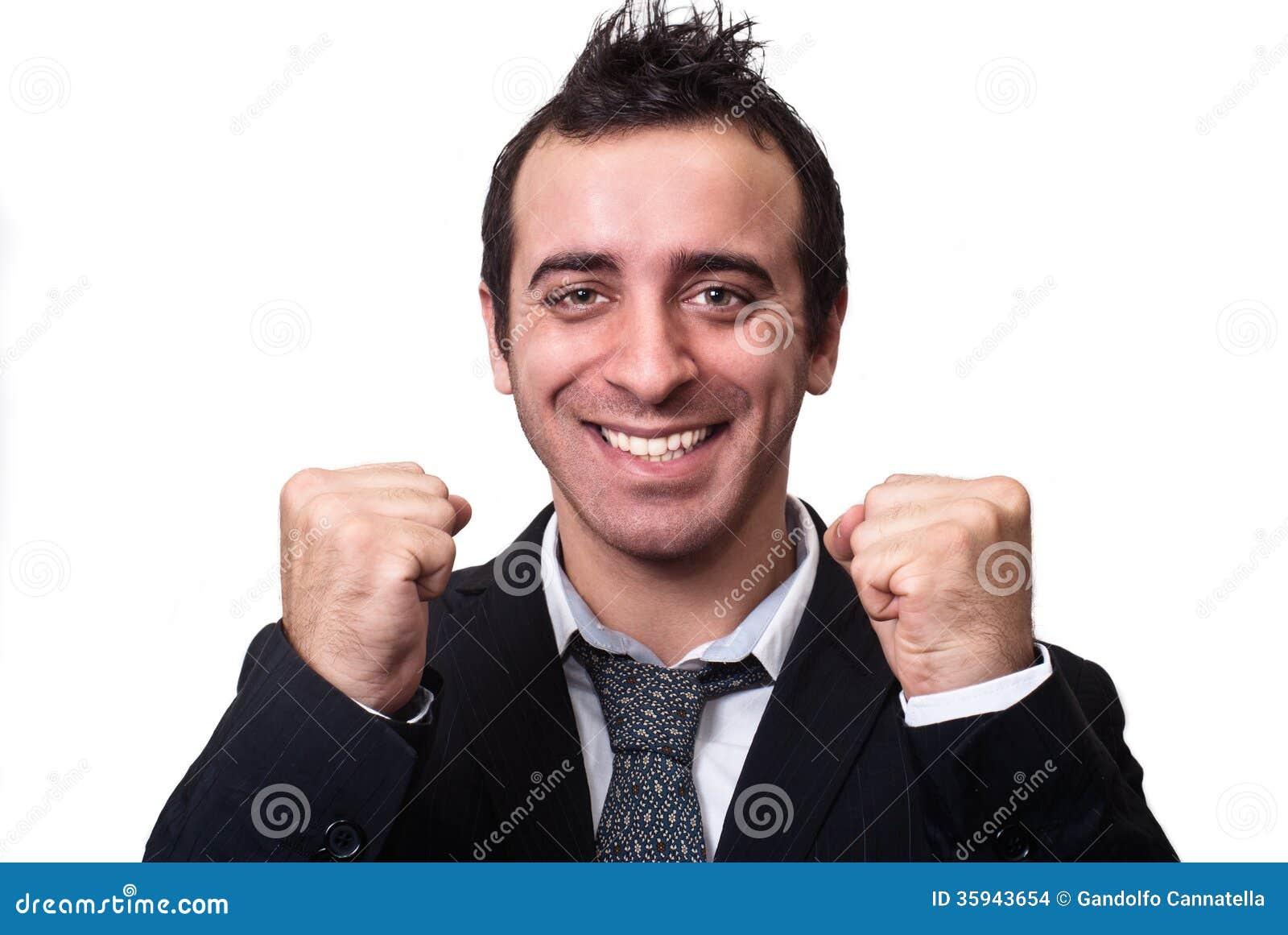 Young businessman enjoying success isolated on white