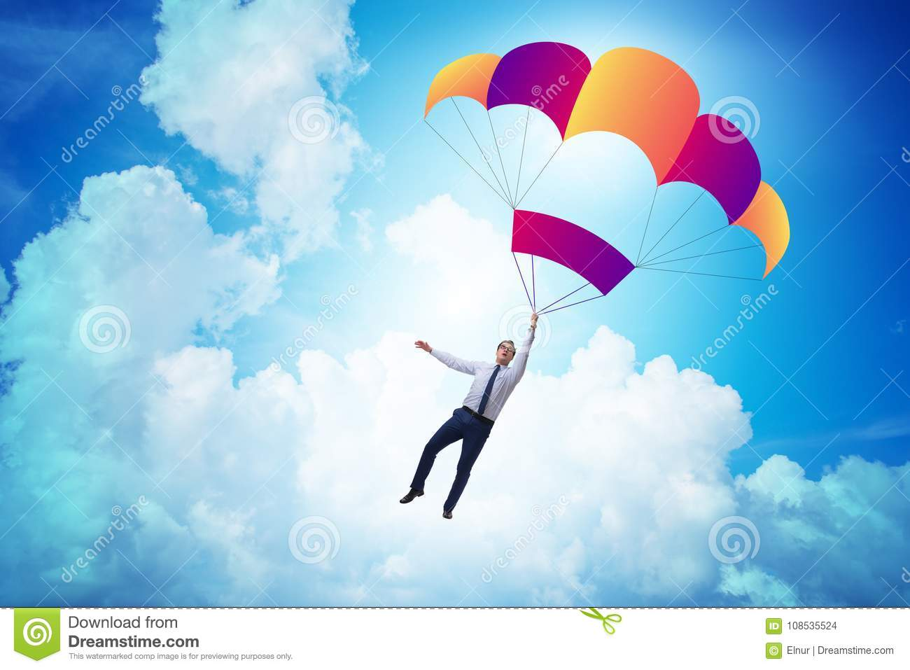 The young businessman falling on parachute in business concept