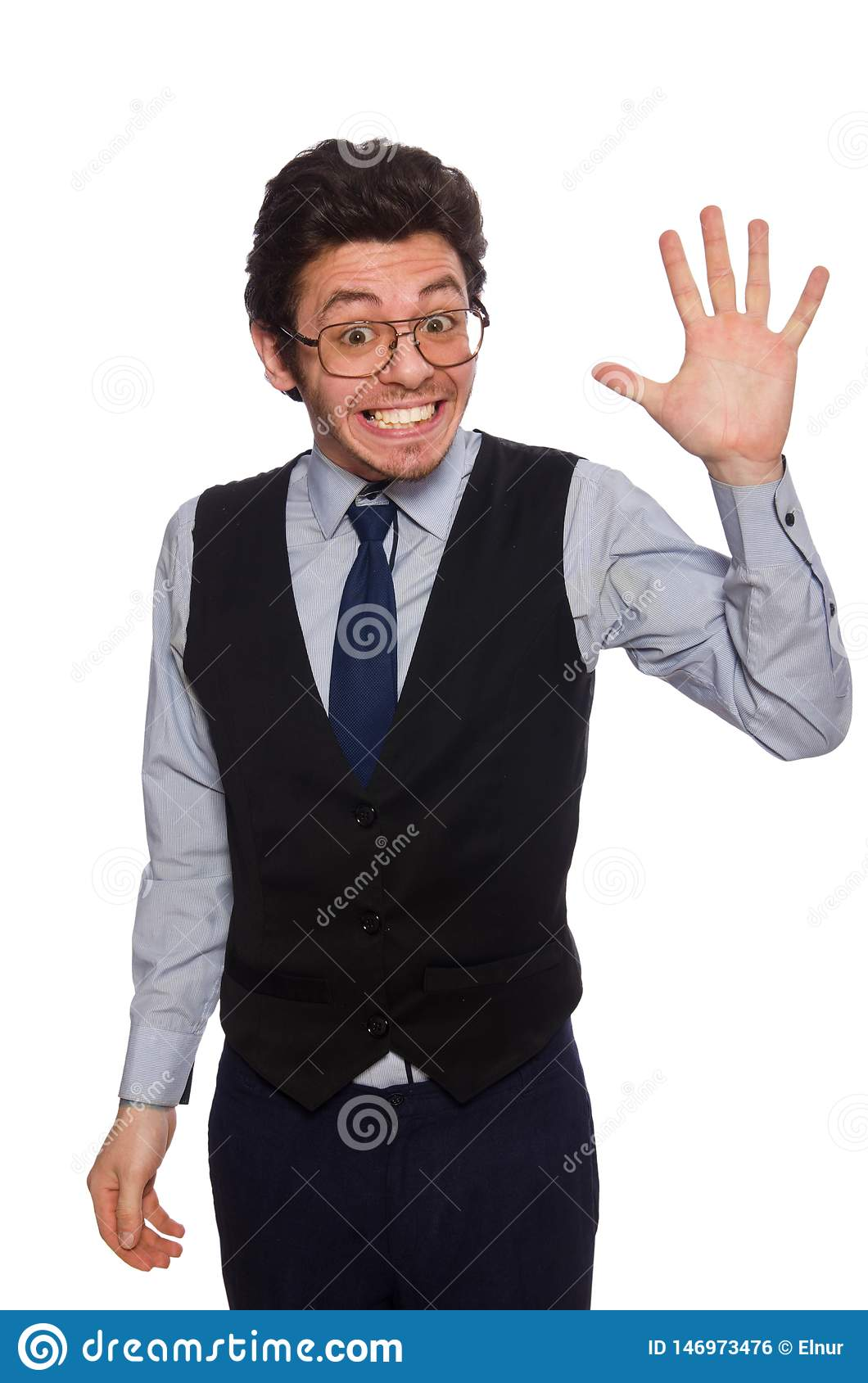 The young businessman in funny concept on white