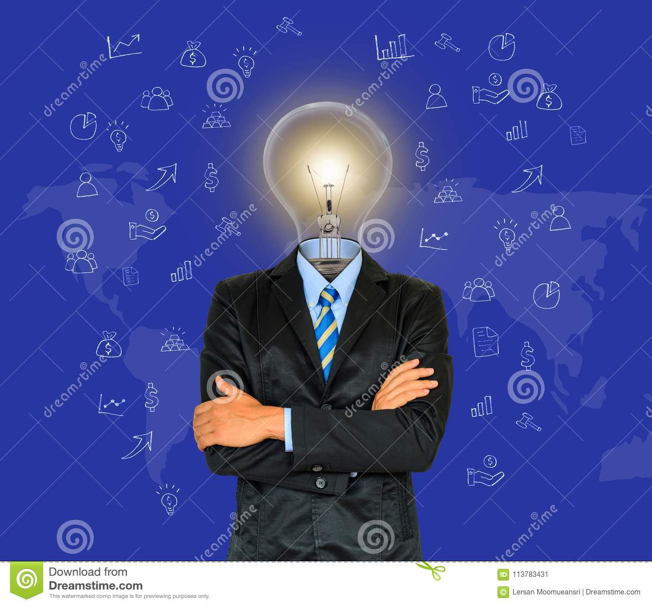 Young businessman have a head as lamp with creativity for success on map background