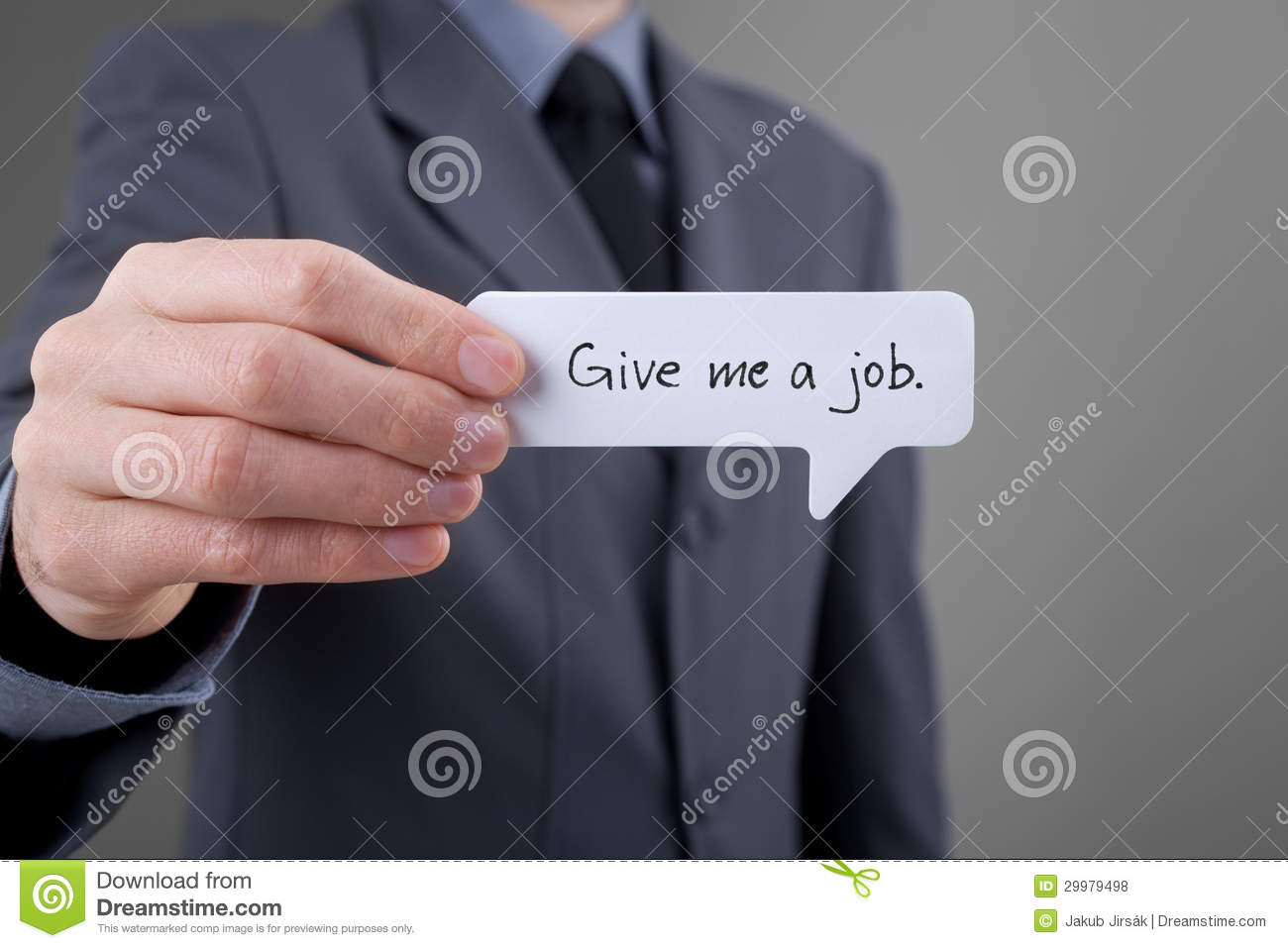 Unemployed Person Give me a job Royalty Free