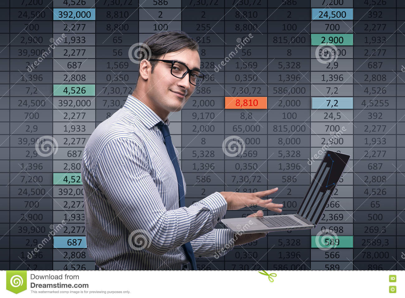 The young businessman in online trading concept