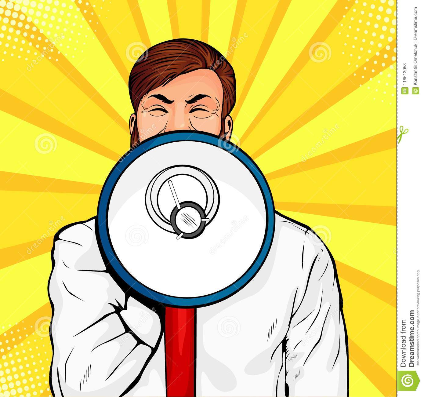 Young businessman with open mouth and megaphone screaming announcement. Colorful vector pop art