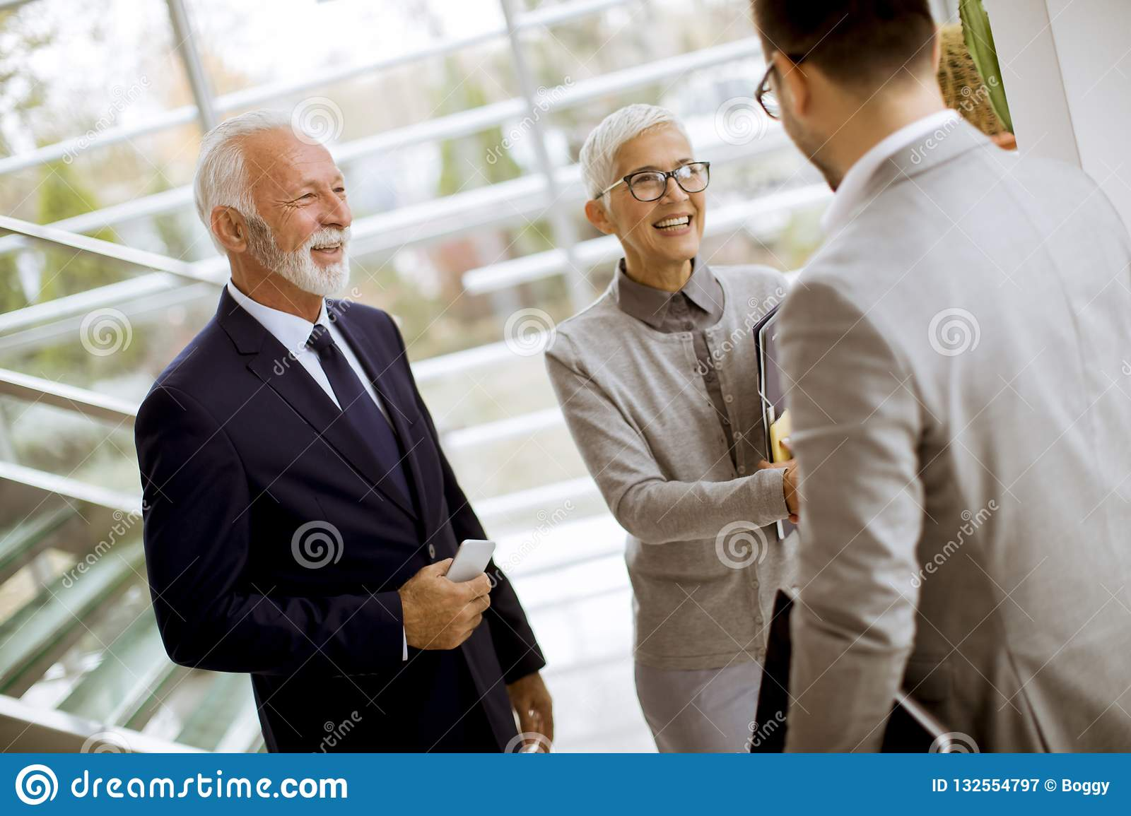 Young businessman with senior clients standing in office