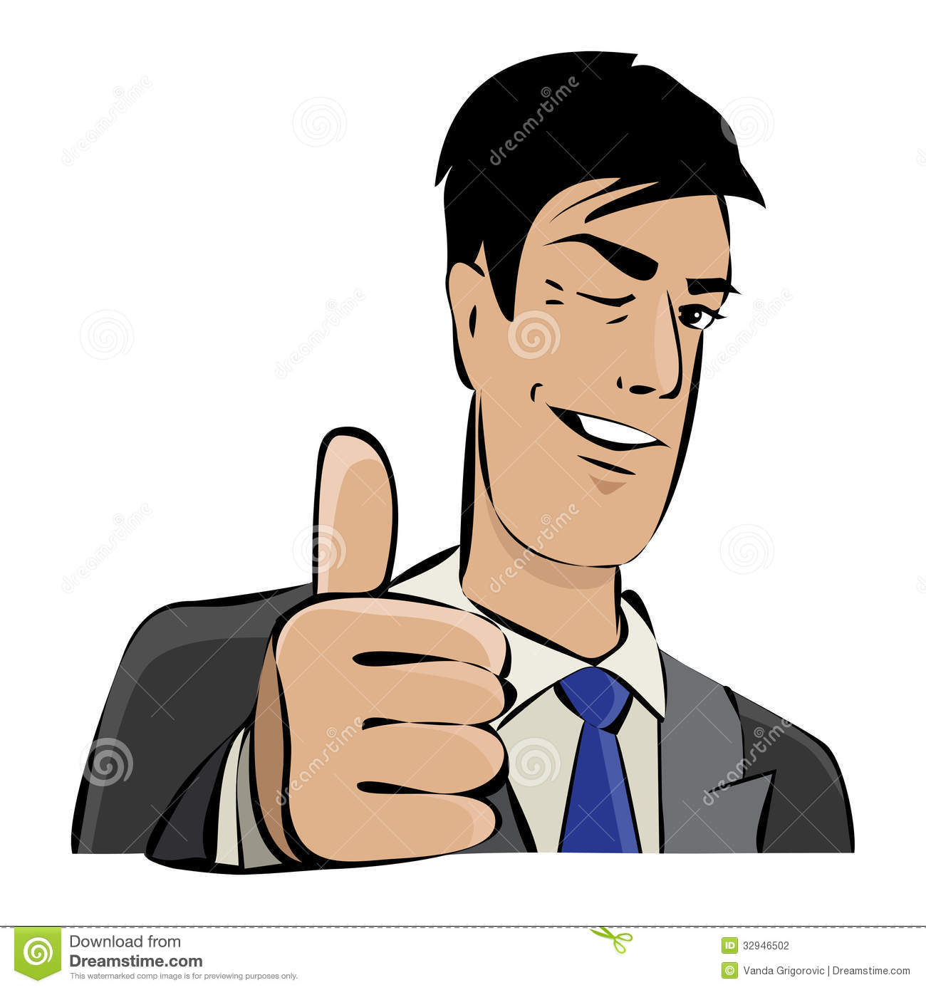 Young businessman with thumb up