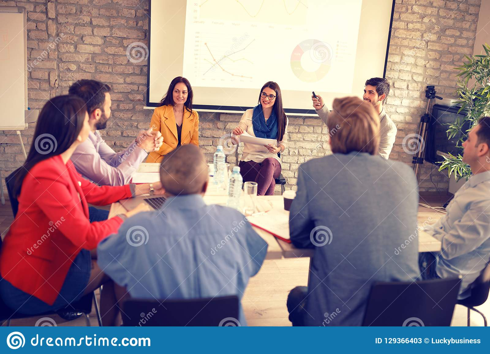 Businesspeople have business meeting in company