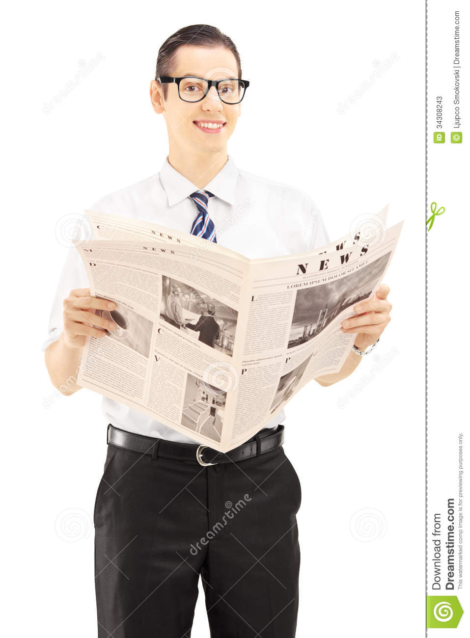 young businessperson holding a newspaper and looking at