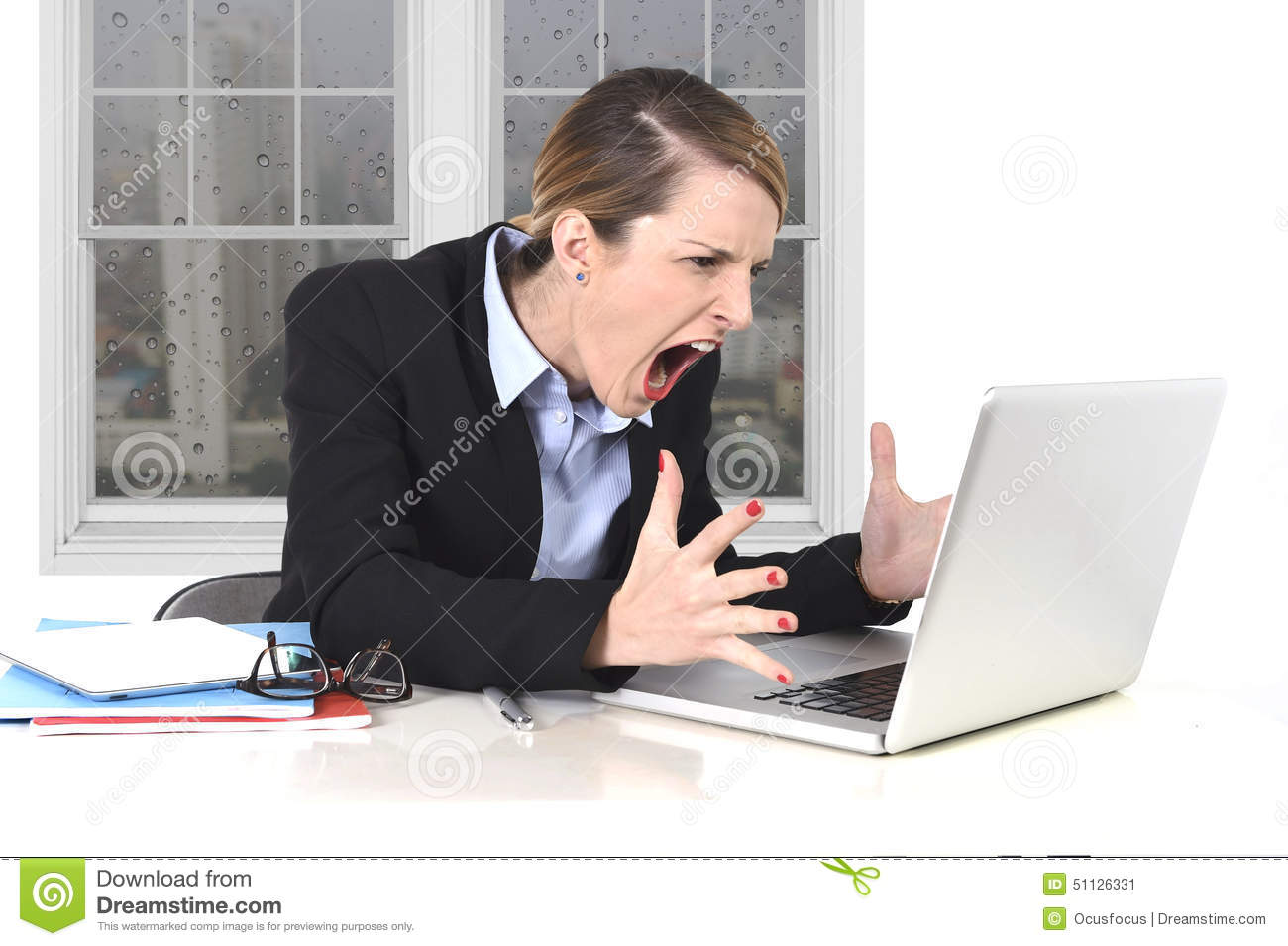Young Businesswoman Angry In Stress At Office Working On ...