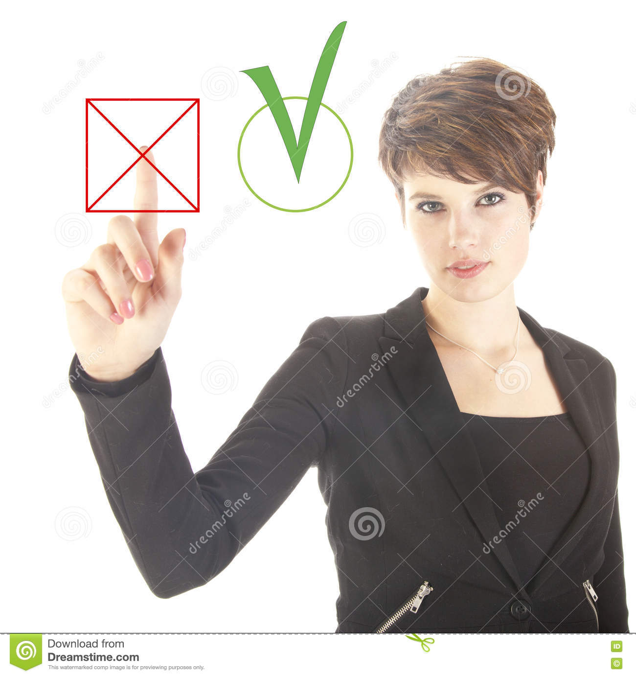 Young businesswoman choosing no over yes isolated