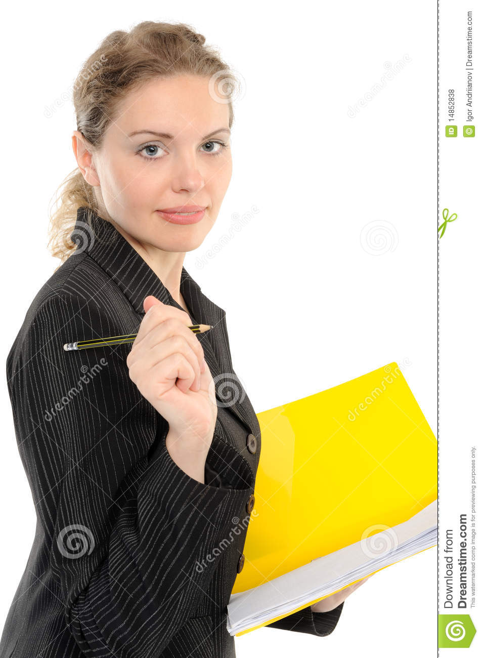 Young businesswoman holding a folder