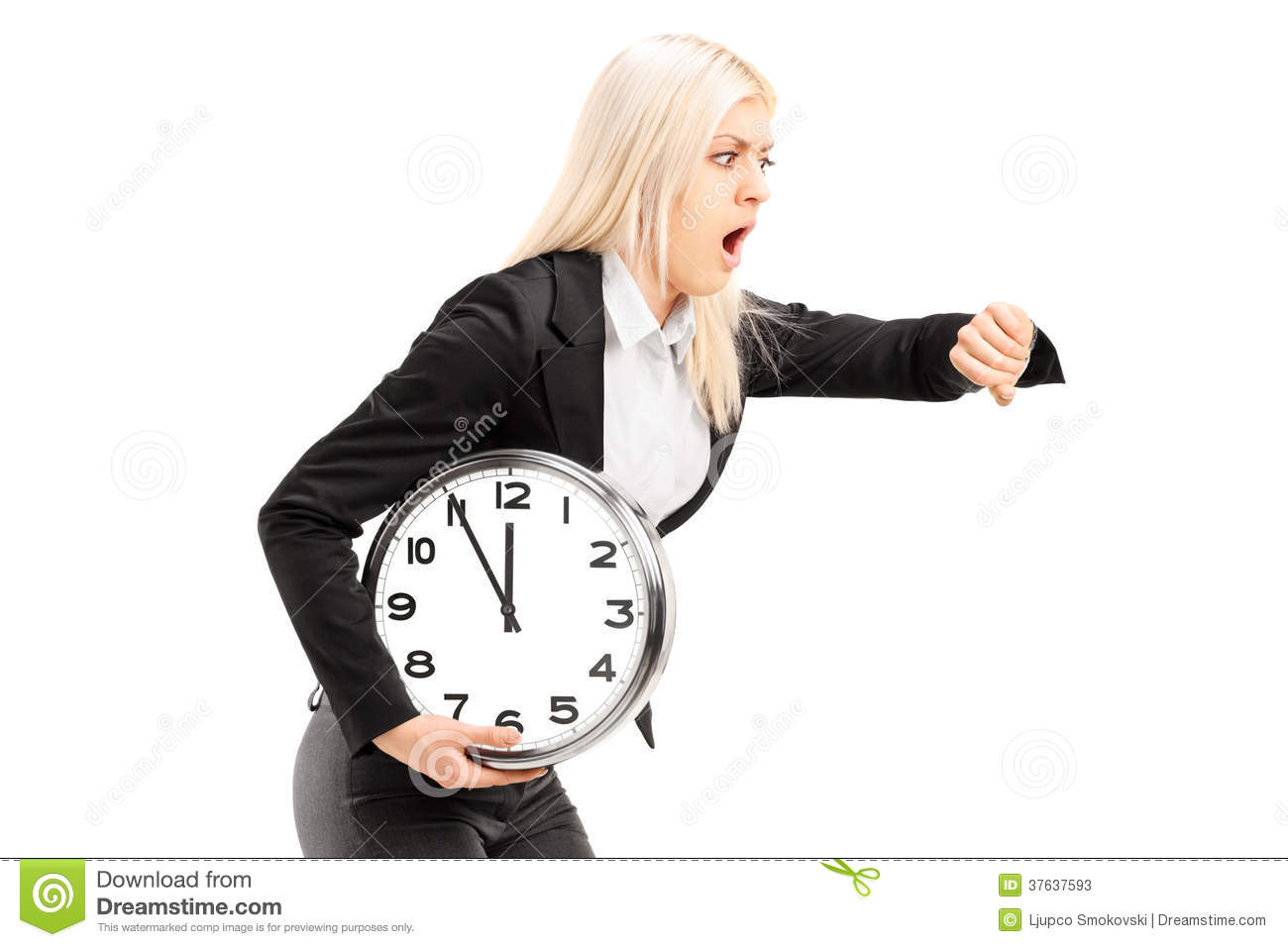 Young Businesswoman Running Late With A Wall Clock In Her