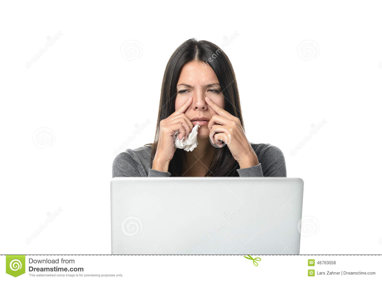 Young businesswoman with severe sinusitis