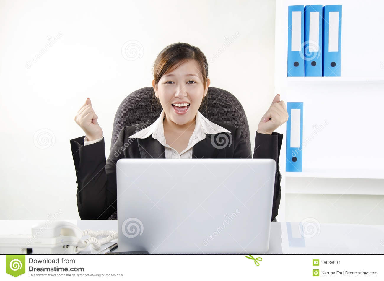 Young Businesswoman Showing Her Excitement Stock Images ...