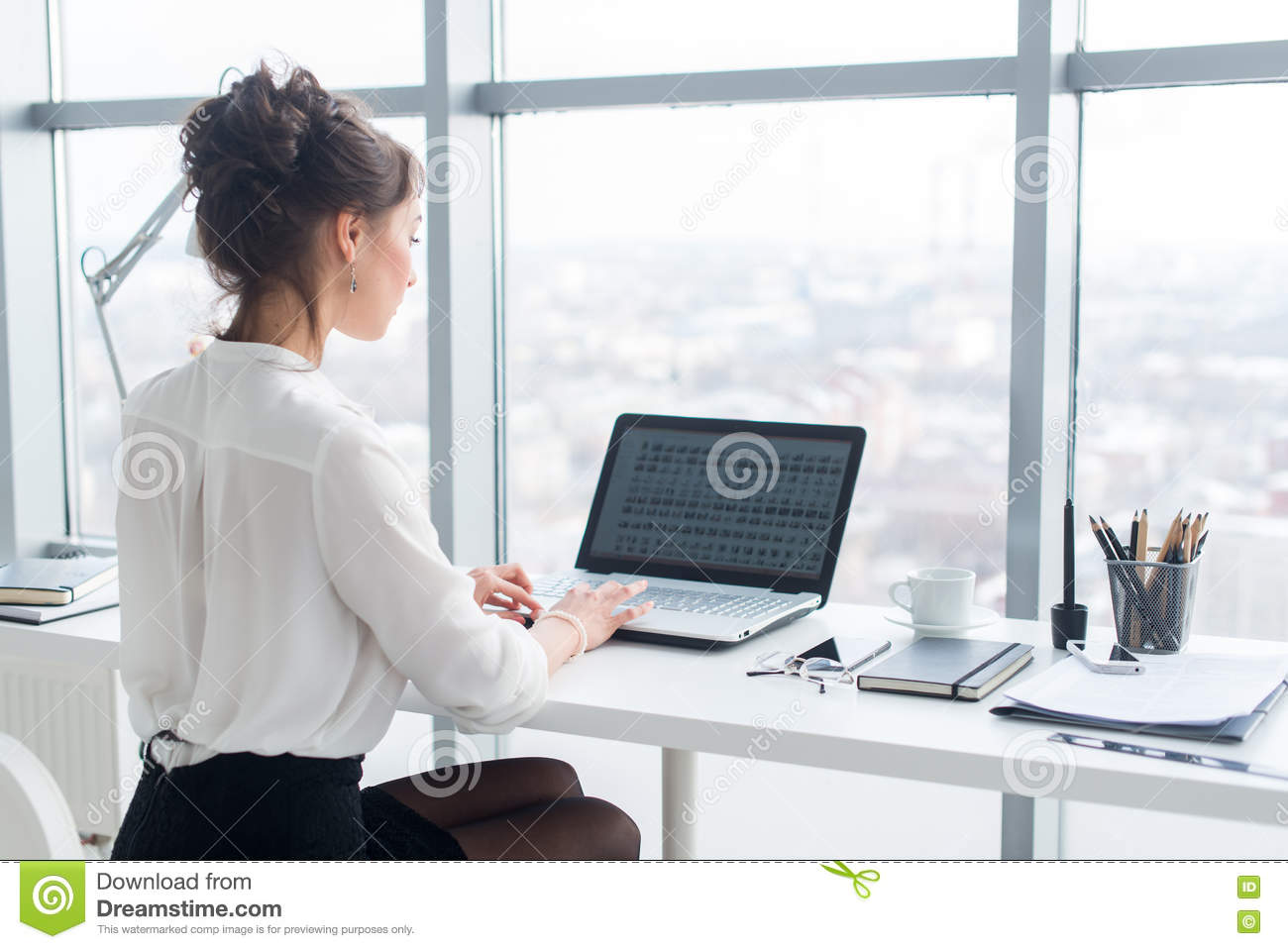 Young Businesswoman Working In Office, Typing, Using Computer ...