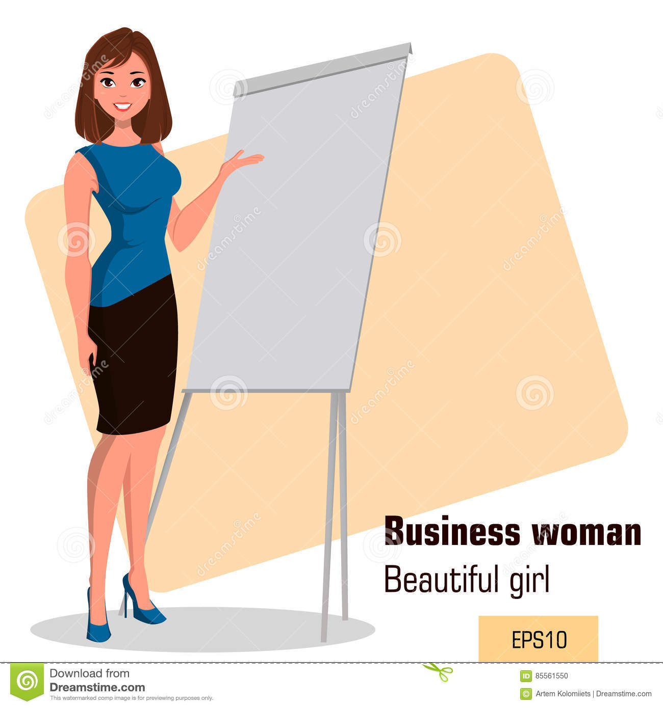 young cartoon businesswoman standing near office board making presentation beautiful girl presenting business plan