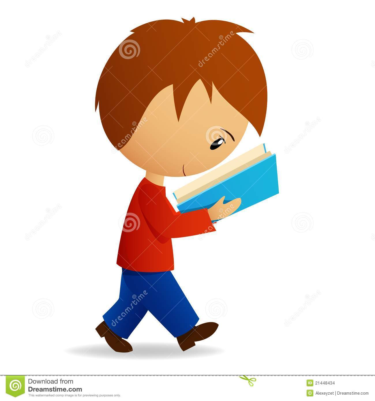 Young Cartoon Male Student Walking And Reading Stock ...
