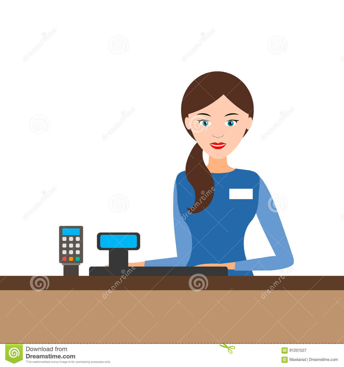 Cashier Cartoons: Young Cashier Girl Behind The Cash Register, . Royalty