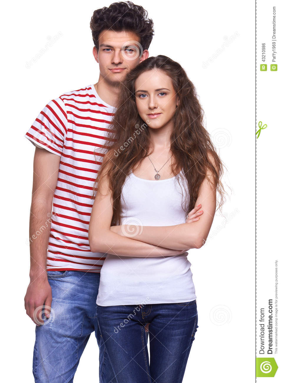 Casual teen couple standing