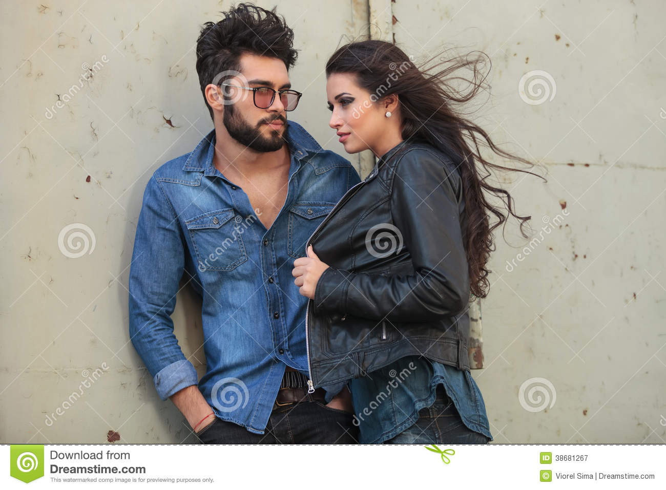 Young Casual Couple Pose In The Wind Stock Image Image Of Blown Outdoor 38681267