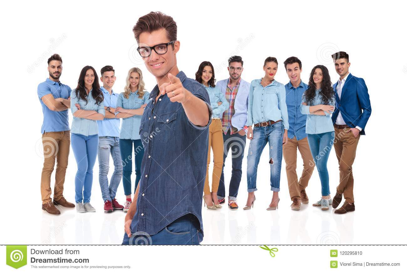 Young casual leader with glasses wants you in his team